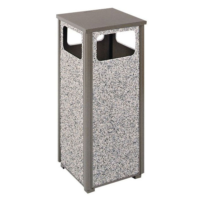 Rubbermaid FGR126000PL 12-gal Square Flat Top Trash Receptacle - Rigid Plastic Liner, Gray Stone/Bronze