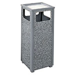 Rubbermaid FGR12SU2000PL 12-gal Square Flat Top Ash/Trash Receptacle - Plastic Liner, Dove Gray/Gray