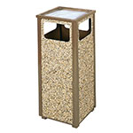 Rubbermaid FGR12SU201PL 12-gal Square Flat Top Ash/Trash Receptacle - Plastic Liner, Brown Stone/Brown