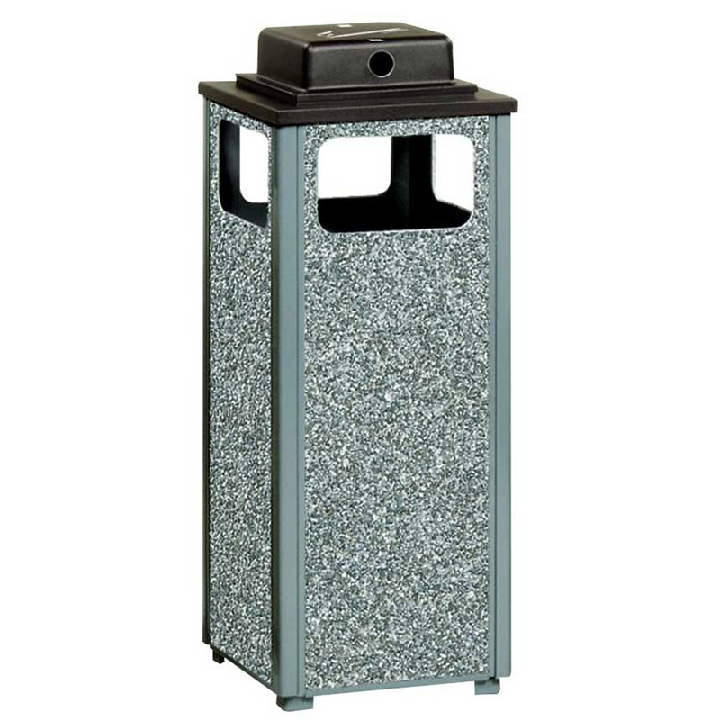 Rubbermaid FGR12WU2000PL 12-gal Square Flat Top Ash/Trash Weather Urn - Plastic Liner, Dove Gray/Gray