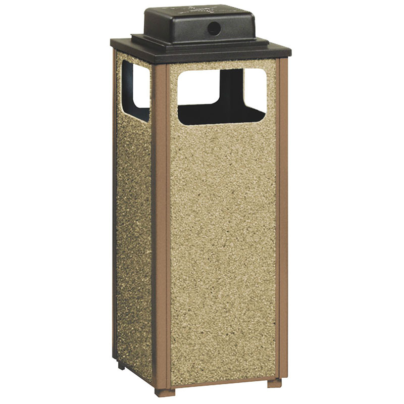 Rubbermaid FGR12WU201PL 12-gal Square Flat Top Ash/Trash Weather Urn - Plastic Liner, Brown Stone/Brown