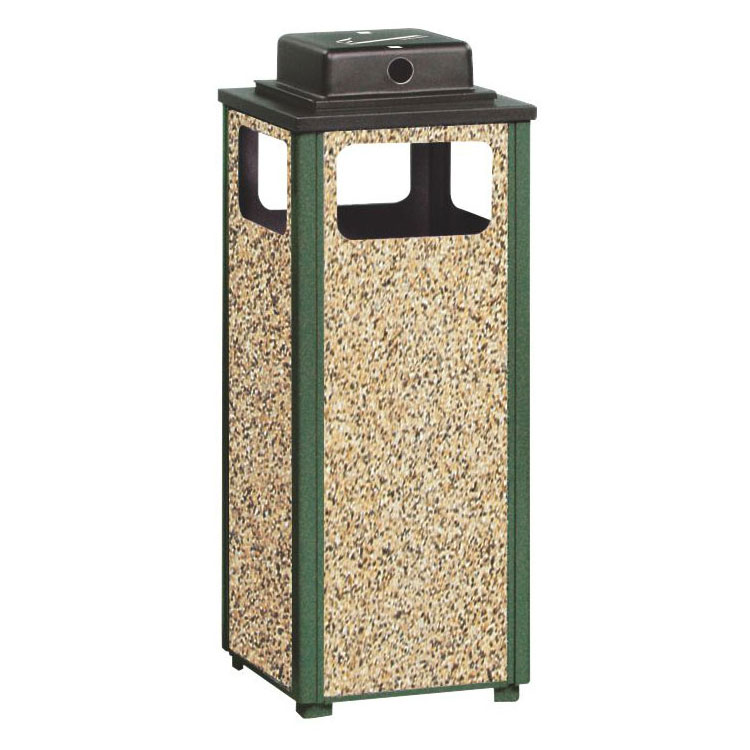 Rubbermaid FGR12WU202PL 12-gal Square Flat Top Ash/Trash Weather Urn - Plastic Liner, Brown Stone/Green