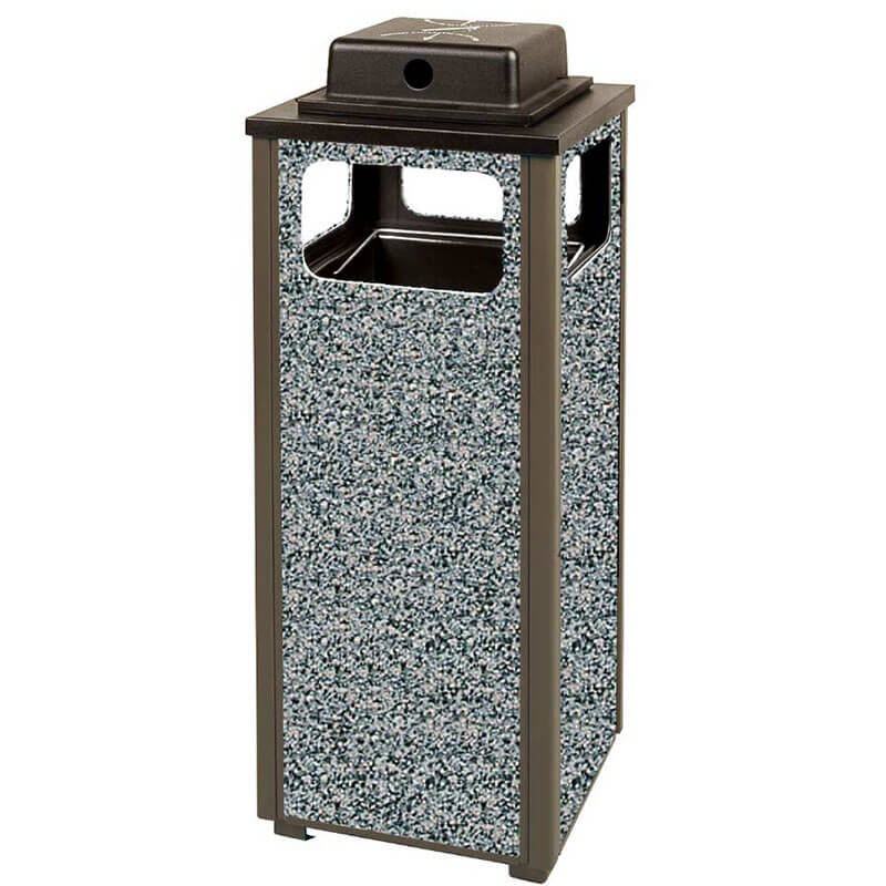Rubbermaid FGR12WU6000PL 12-gal Square Flat Top Ash/Trash Weather Urn - Plastic Liner, Glacier Gray/Bronze
