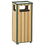 Rubbermaid FGR14SU50PLEGN 12-gal Ash/Trash Receptacle - Flat Top, Rigid Plastic Liner, Cedar/Empire Green