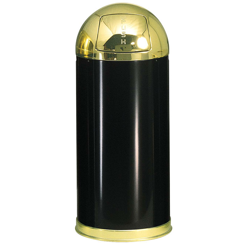 Rubbermaid FGR153610GLBK 15-gal European Waste Receptacle - Round Top, Galvanized Liner, Black/Brass