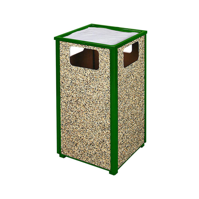 Rubbermaid FGR18SU202PL 24-gal Aspen Ash/Trash Receptacle - Rigid Plastic Liner, Desert Brown/Green