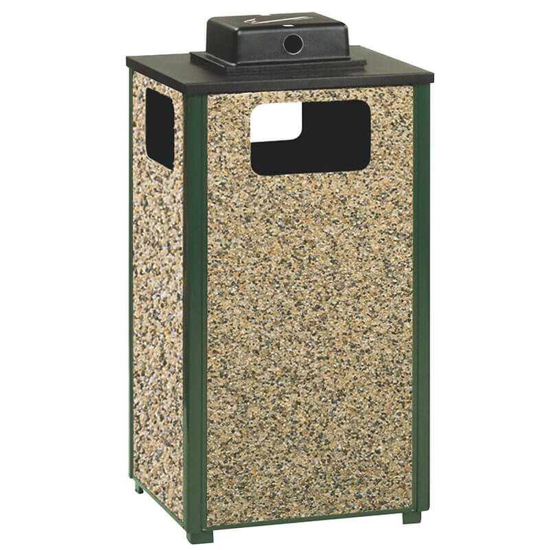 Rubbermaid FGR18WU 202 PL 24-gal Ash/Trash Receptacle - Weather Urn, Plastic Liner, Desert Brown/Green