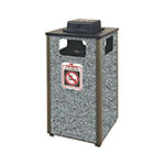Rubbermaid FGR18WU 6000 PL 24-gal Ash/Trash Receptacle - Weather Urn, Plastic Liner, Glacier Gray/Bronze