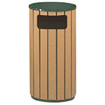 Rubbermaid FGR2350PLEGN 12-gal Regent 50 Waste Receptacle - Flat Top, Galvanized Liner, Cedar/Green