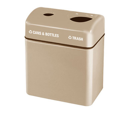 Rubbermaid FGFGR2416TPPLSBG 32-gal Recycling Center - 2-Section, Fiberglass, Sedona Beige