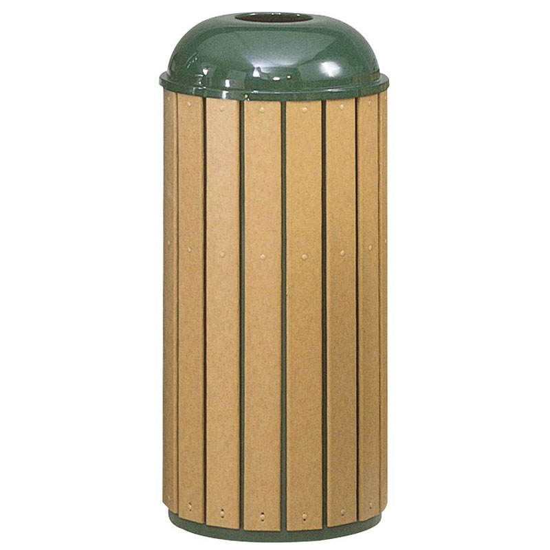 Rubbermaid FGR25T50PLEGN 15-gal Regent 50 Waste Receptacle - Open Dome Top, Plastic Liner, Cedar/Green
