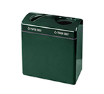 Rubbermaid FGFGR3418TPPLWMG 46-gal Recycling Center - 2-Section, Plastic Liner, Fiberglass, Warm Gray
