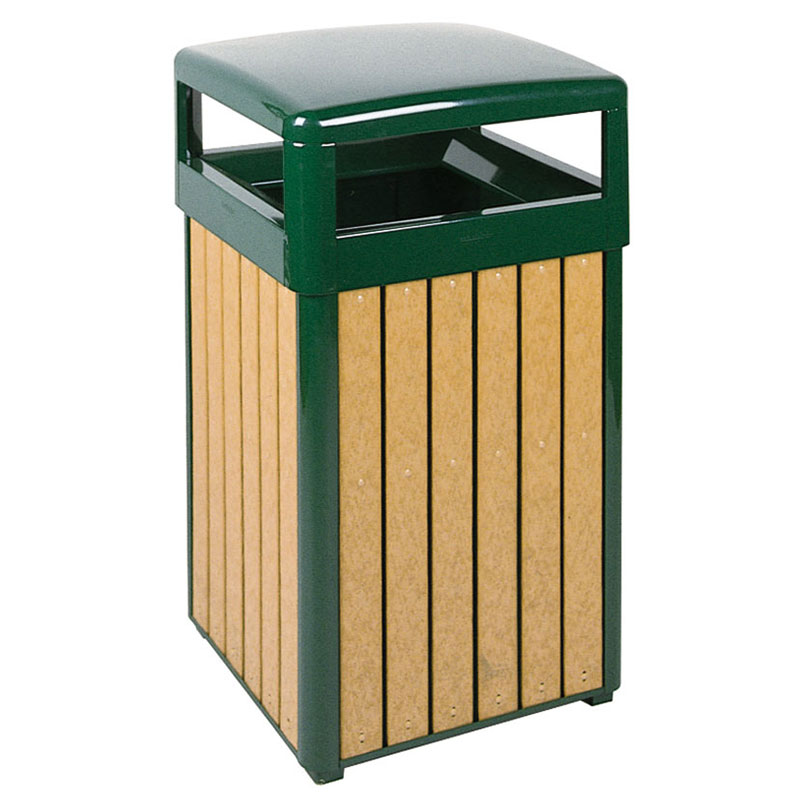 Rubbermaid FGR34HT50PLEGN 29-gal Regent 50 Waste Receptacle - Open Dome Top, Plastic Liner, Cedar/Green
