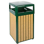Rubbermaid FGR34HTWU50PLEGN 29-gal Regent 50 Waste Receptacle - Hinged Top, Plastic Liner, Cedar/Green