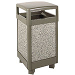 Rubbermaid FGR36HT6000PL 29-gal Aspen Waste Receptacle - Hinged Top, Plastic Liner, Glacier Gray/Bronze