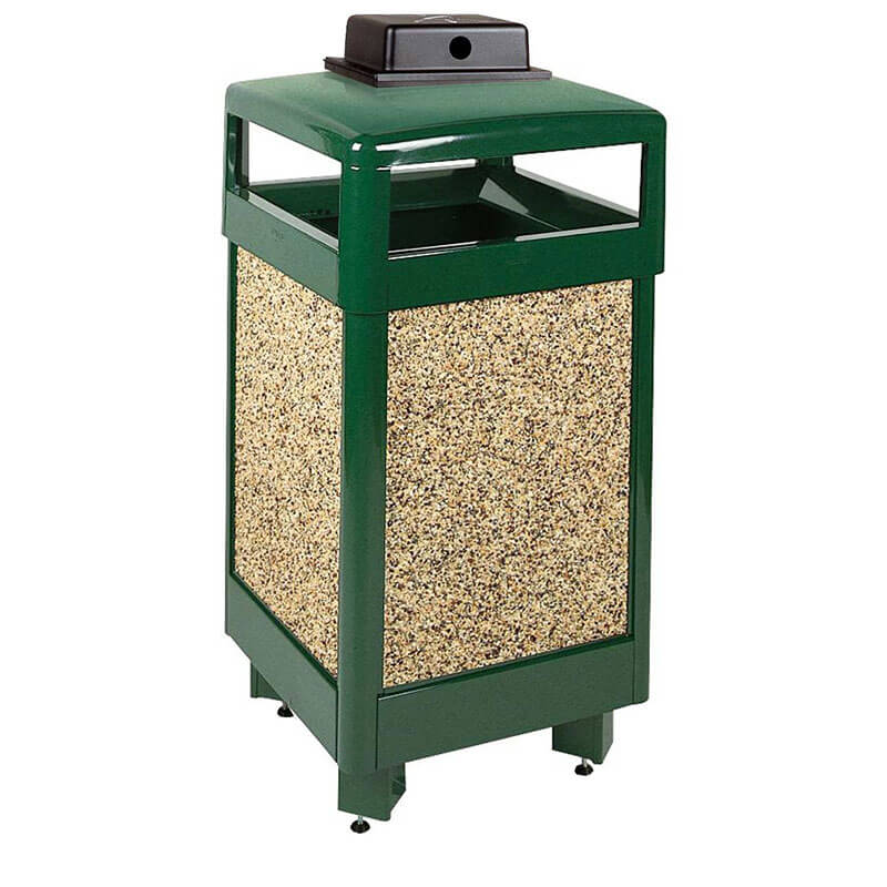 Rubbermaid FGR36HTWU202PL 29-gal Aspen Waste Receptacle - Hinged Top, Desert Brown/Green