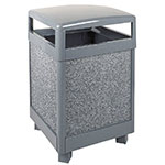 Rubbermaid FGR38HT2000PL 38-gal Aspen Waste Receptacle - Hinged Top, Rigid Plastic Liner, Dove Gray/Gray