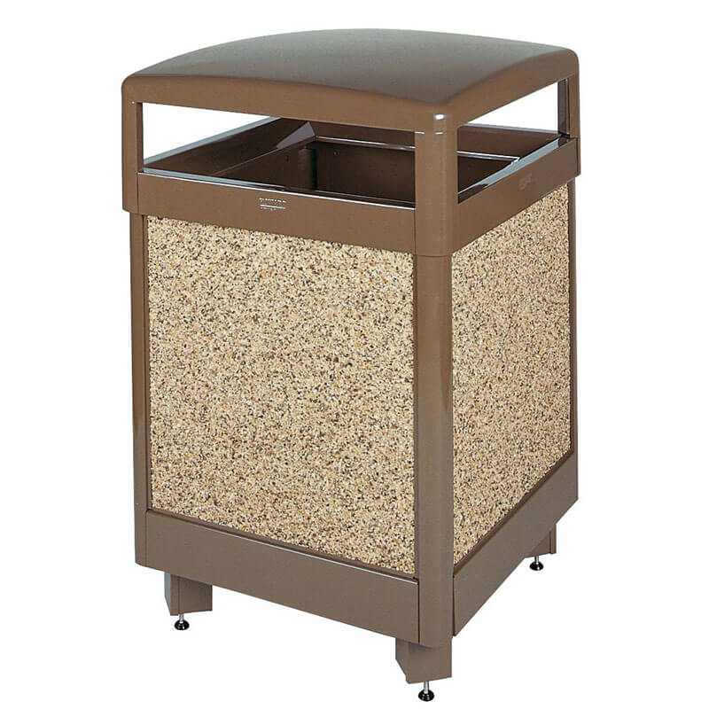 Rubbermaid FGR38HT201PL 38-gal Aspen Waste Receptacle - Hinged Top, Plastic Liner, Desert Brown/Brown