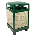 Rubbermaid FGR38HT202PL 38-gal Aspen Waste Receptacle - Hinged Top, Plastic Liner, Desert Brown/Green