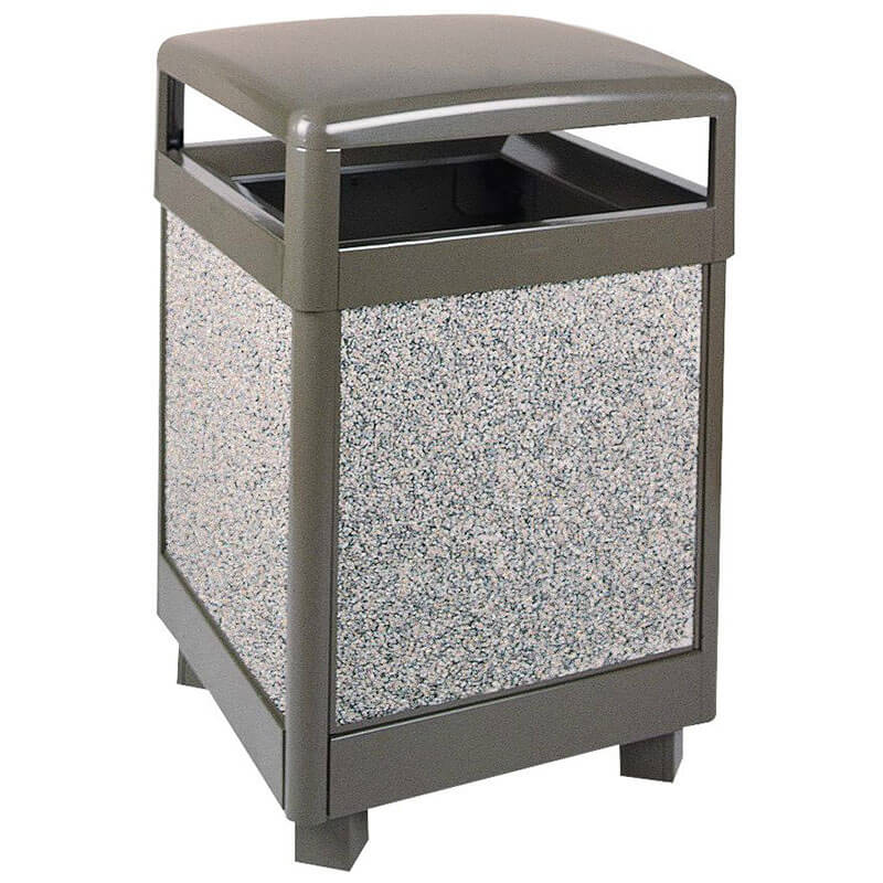 Rubbermaid FGR38HT6000PL 38-gal Aspen Waste Receptacle - Hinged Top, Plastic Liner, Glacier Gray/Bronze