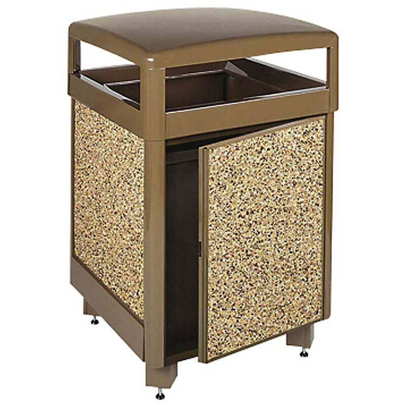 Rubbermaid FGR38SD201PL 38-gal Aspen Square Waste Receptacle - Hinged Top, Plastic Liner, Brown/Brown