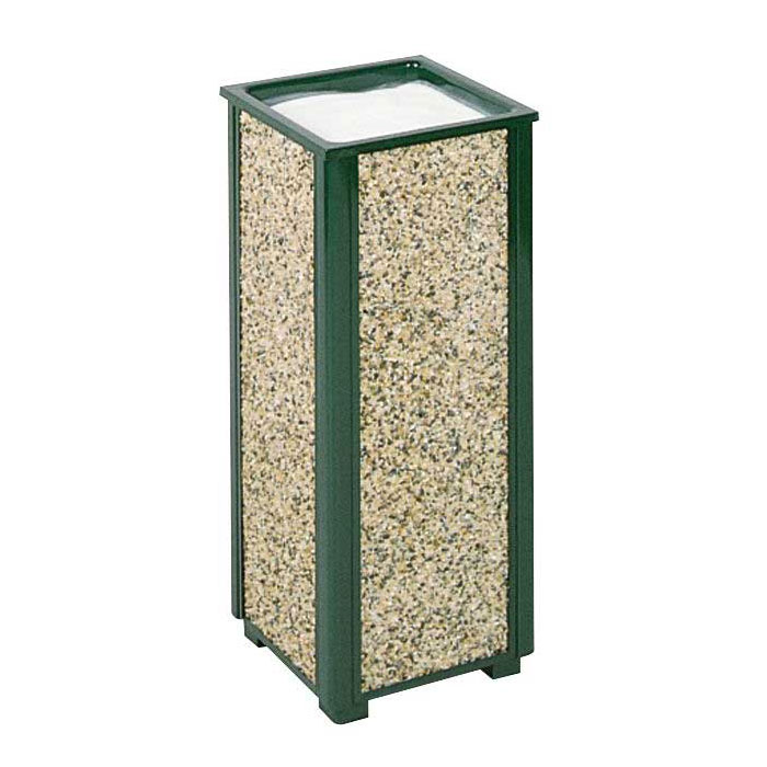"Rubbermaid FGR40202 10"" Square Aspen Urn - Desert Brown Stone/Green"