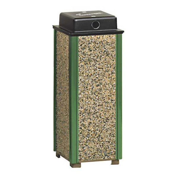 "Rubbermaid FGR40WU202 10"" Square Aspen Urn with Weather Urn - Desert Brown Stone/Green"