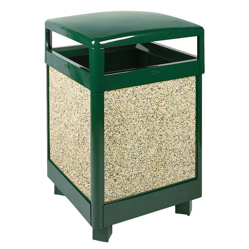 Rubbermaid FGR48HT202PL 48-gal Aspen Waste Receptacle - Hinged Top, Plastic Liner, Desert Brown/Green