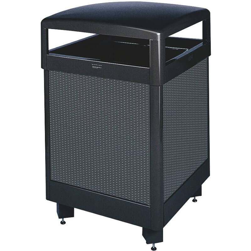 Rubbermaid FGR48HT500PL 48-gal Aspen Waste Receptacle - Hinged Top, Plastic Liner, Anthracite/Black