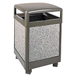 Rubbermaid FGR48HT6000PL 48-gal Aspen Waste Receptacle - Hinged Top, Plastic Liner, Glacier Gray/Bronze