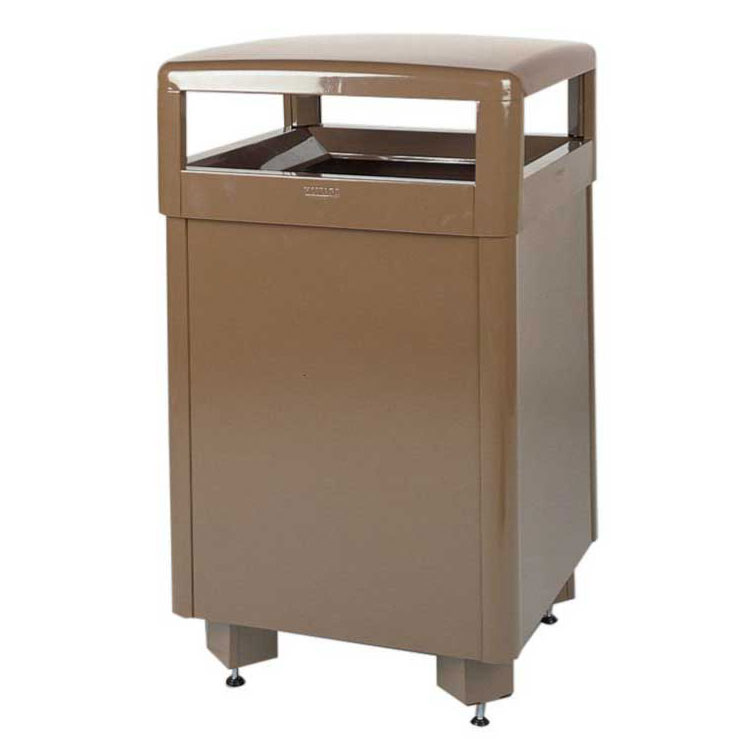 Rubbermaid FGR48HTSTDPLBR 48-gal Aspen Waste Receptacle - Hinged Top, Standard Service, Plastic Liner