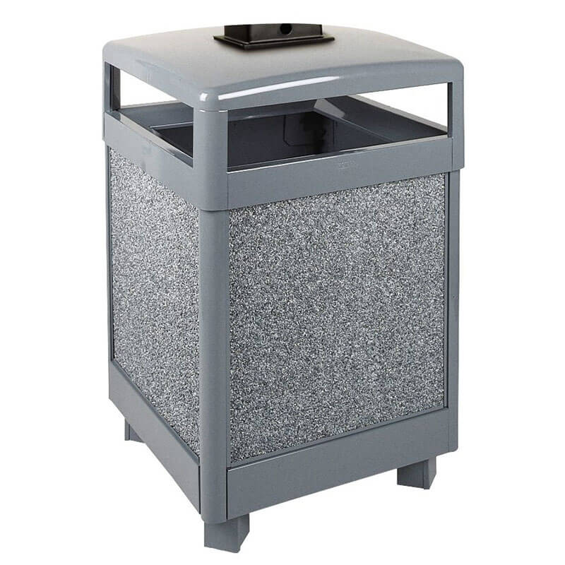 Rubbermaid FGR48HTWU2000PL 48-gal Waste Receptacle - Weather Urn, Plastic Liner, Glacier Gray/Black