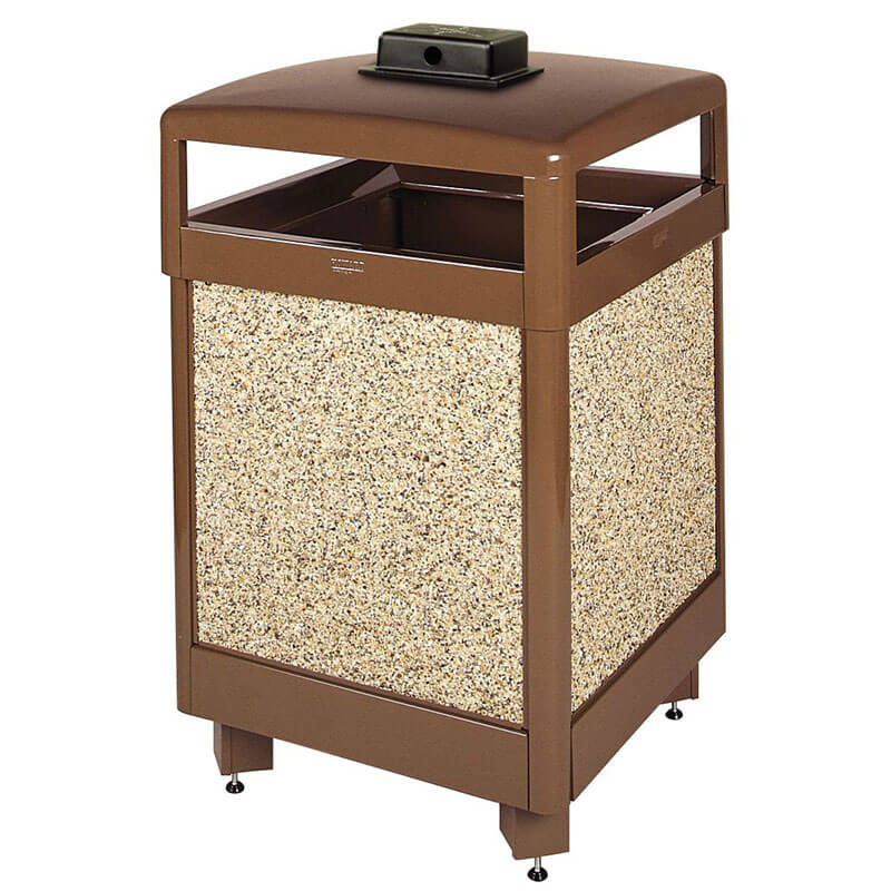 Rubbermaid FGR48HTWU201PL 48-gal Waste Receptacle - Weather Urn, Plastic Liner, Brown Stone/Brown