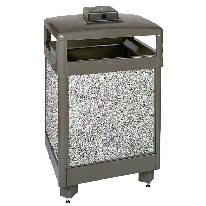 Rubbermaid FGR48HTWU6000PL 48-gal Waste Receptacle - Weather Urn, Plastic Liner, Glacier Gray/Gray