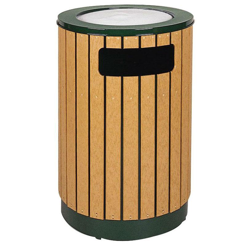 Rubbermaid FGR56SU50PLEGN 40-gal Ash/Trash Receptacle - Sand Urn Top, Plastic Liner, Cedar/Empire Green