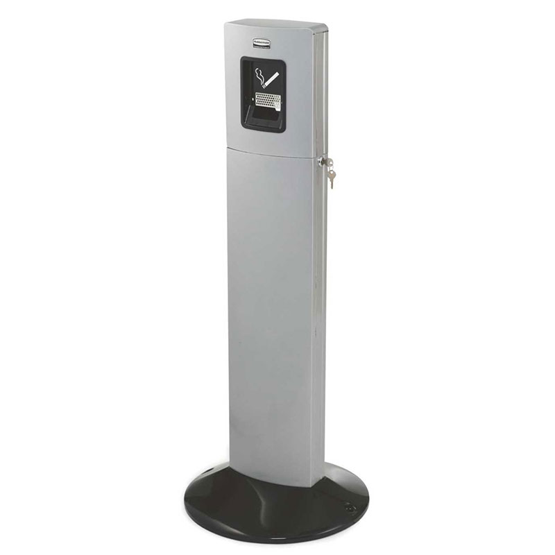 "Rubbermaid FGR93400SM 42.8"" Metropolitan Smokers' Tower - Galvanized Liner, Weighted, Silver Metallic"