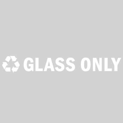 "Rubbermaid FGRC1 13-1/2"" ""Glass Only"" Recycle Decal - White Letters/Clear"