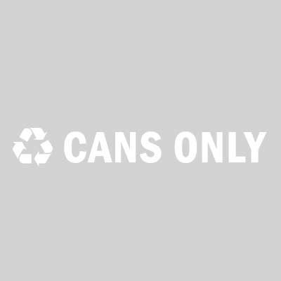 "Rubbermaid FGRC2 13-1/2"" ""Cans Only"" Recycle Decal - White Letters/Clear"