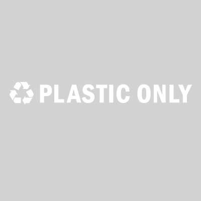 "Rubbermaid FGRC3 13-1/2"" ""Plastic Only"" Recycle Decal - White Letters/Clear"