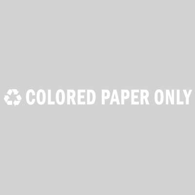 "Rubbermaid FGRC8 13-1/2"" ""Color Paper Only"" Recycle Decal - White Letters/Clear"