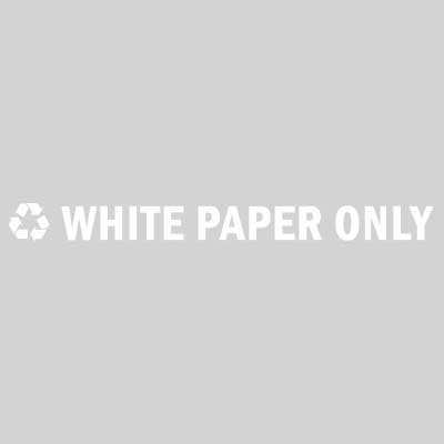 "Rubbermaid FGRC9 13-1/2"" ""White Paper Only"" Recycle Decal - White Letters/Clear"