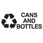 "Rubbermaid FGRDB10 Cans & Bottles"" Recycle Decal - Black Letters/Clear"