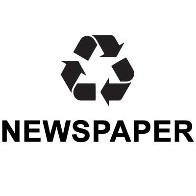 "Rubbermaid FGRDB6 Newspaper"" Recycle Decal - Black Letters/Clear"