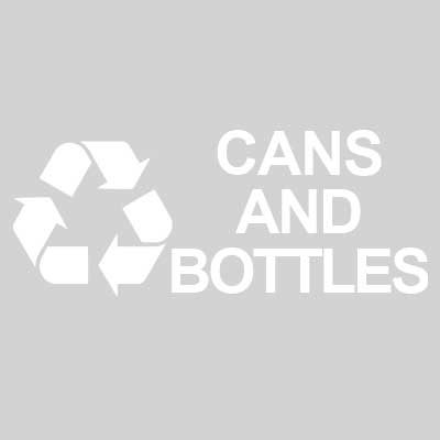 "Rubbermaid FGRDW10 Cans & Bottles"" Recycle Decal - White Letters/Clear"