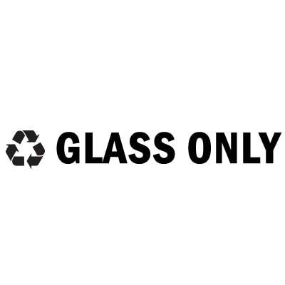 "Rubbermaid FGRSB1 8"" ""Glass Only"" Recycle Decal - Black Letters/Clear"