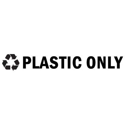 """Rubbermaid FGRSB3 8"""" """"Plastic Only"""" Recycle Decal - Black Letters/Clear"""