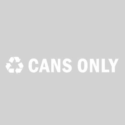 "Rubbermaid FGRSW2 8"" ""Cans Only"" Recycle Decal - White Letters/Clear"