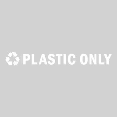 "Rubbermaid FGRSW3 8"" ""Plastic Only"" Recycle Decal - White Letters/Clear"