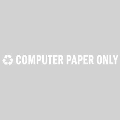 """Rubbermaid FGRSW6 8"""" """"Computer Paper Only"""" Recycle Decal - White Letters/Clear"""
