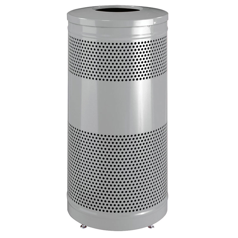 "Rubbermaid FGS3ETSMPLBK 25-gal Recycling Receptacle - ""Cans or Bottles"" Drop Top, Silver Metallic"